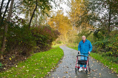 Senior Man with Walker in Park. Happy elderly white man after knee replacemant surgery taking a walk with a red walker on a handicap accessible hiking trail in a Royalty Free Stock Image