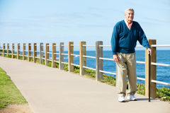 Senior Man Walking Along Path By The Sea Stock Image