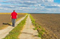 Senior man walking on country road Royalty Free Stock Image