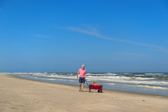 Senior man walking with dog at beach Royalty Free Stock Photography