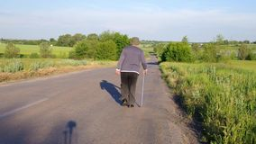 Senior man with walking stick walking away on a country road stock footage