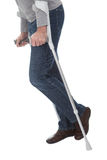 Senior man walking using crutches. Isolated on white Stock Photography