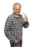 Senior man with water bottle Royalty Free Stock Photo