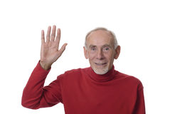 Senior man waving happily Royalty Free Stock Photography