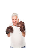 Senior man wearing boxing gloves smiling on white. Senior man wearing boxing gloves isolated on white background Stock Images
