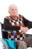 Senior man wheel chair Stock Images