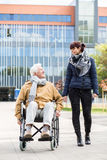 Senior man in a wheelchair royalty free stock photography