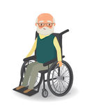 Senior man in wheelchair on a white background Royalty Free Stock Photos