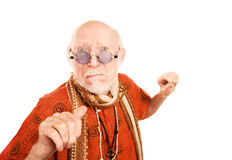 Senior Man on White Background Throwing a Punch Stock Images