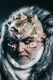 Senior man with white beard dressed like monster. Alien, demon, sorcerer makeup. Dark arts concept. Man with thorns or. Warts in fur coat. Demon on black royalty free stock photo