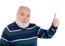 Senior man with white beard saying Ok with his hand Royalty Free Stock Photos