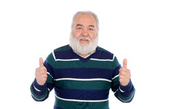 Senior man with white beard saying Ok with his hand Royalty Free Stock Photos