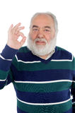 Senior man with white beard saying Ok with his hand Royalty Free Stock Photo