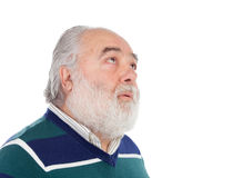 Senior man with white beard thinking Royalty Free Stock Photos