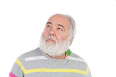 Senior man with white beard thinking Stock Images