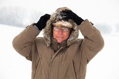 Senior man in winter Royalty Free Stock Photo