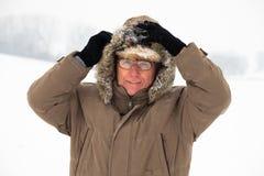 Senior man in winter Royalty Free Stock Photo