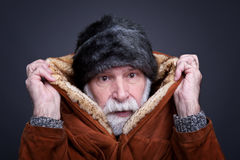 Senior man in winter outfit, Royalty Free Stock Image