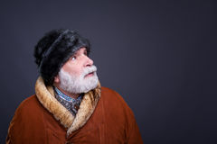 Senior man in winter outfit. Royalty Free Stock Images