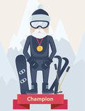 Senior man winter sports champion concept Stock Photography