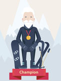 Senior man winter sports champion concept Royalty Free Stock Photos