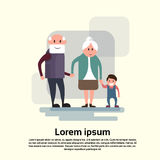 Senior Man Woman, Couple Grandfather Grandmother With Grandson. Flat Vector Illustration Royalty Free Stock Photos