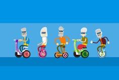 Senior Man Woman Group Ride Segway Motor Scooter Royalty Free Stock Photo