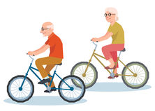 Senior man and a woman riding on a bicycle Royalty Free Stock Photos