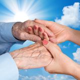 Senior Man, Woman with their Caregiver. royalty free stock photography