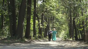 Old people walks through green alley. Senior man and senior woman walks in park. Handsome man is moving along the alley together with wife. Two elderly people stock video footage