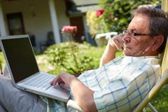 Senior man working Royalty Free Stock Photo