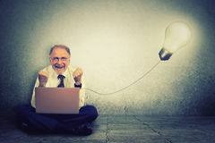 Senior man working on computer with light bulb plugged in it. Celebrates business success royalty free stock image