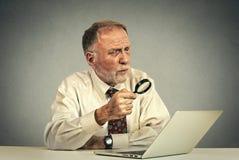 Senior man working looking through magnifying glass at laptop screen Royalty Free Stock Photos