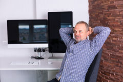 Senior man working in the office Stock Photo