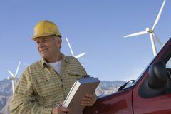 Senior Man Working At Wind Farm Stock Images