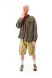 Senior man yawning Stock Photo