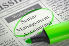 Senior Management Accountant Wanted. 3D. Royalty Free Stock Photo