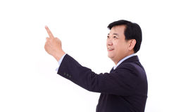 Senior manager, middle age businessman pointing up Royalty Free Stock Photos