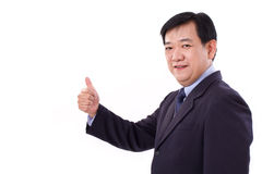 Senior manager, middle aged CEO giving thumb up gesture Stock Photos