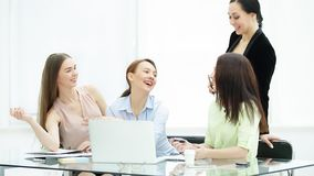 Senior Manager and staff to discuss new ideas in the office stock photos