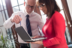 Senior manager working with executive assistant. In office stock image