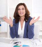 Senior managing director gesturing with hands. Royalty Free Stock Images
