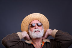 Senior mand with straw hat. Stock Images