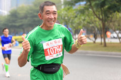 Senior marathon runner Stock Photo