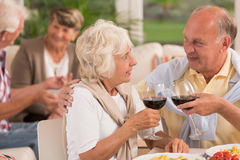 Senior marriage drinking with their friends Royalty Free Stock Images