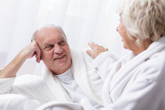 Senior marriage relaxing in spa Stock Images