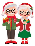 Senior married couple with Christmas gifts vector illustration