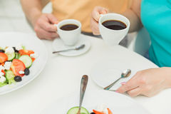 Senior married couple having breakfast in cafe Royalty Free Stock Images
