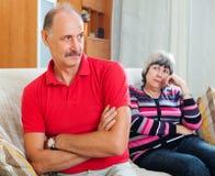 Senior married couple having quarrel. At home Royalty Free Stock Photo