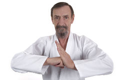 Senior in martial arts pose Royalty Free Stock Photo